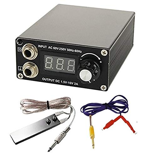 DGT Digital LCD Tattoo Power Supply with Foot Pedal and Clip cord